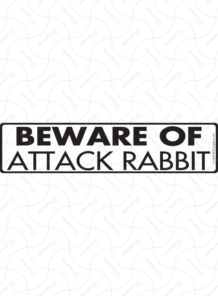 Beware of Attack Rabbit Sign and Sticker - 12