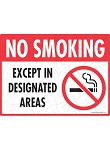 No Smoking - Designated Areas Sign - 12