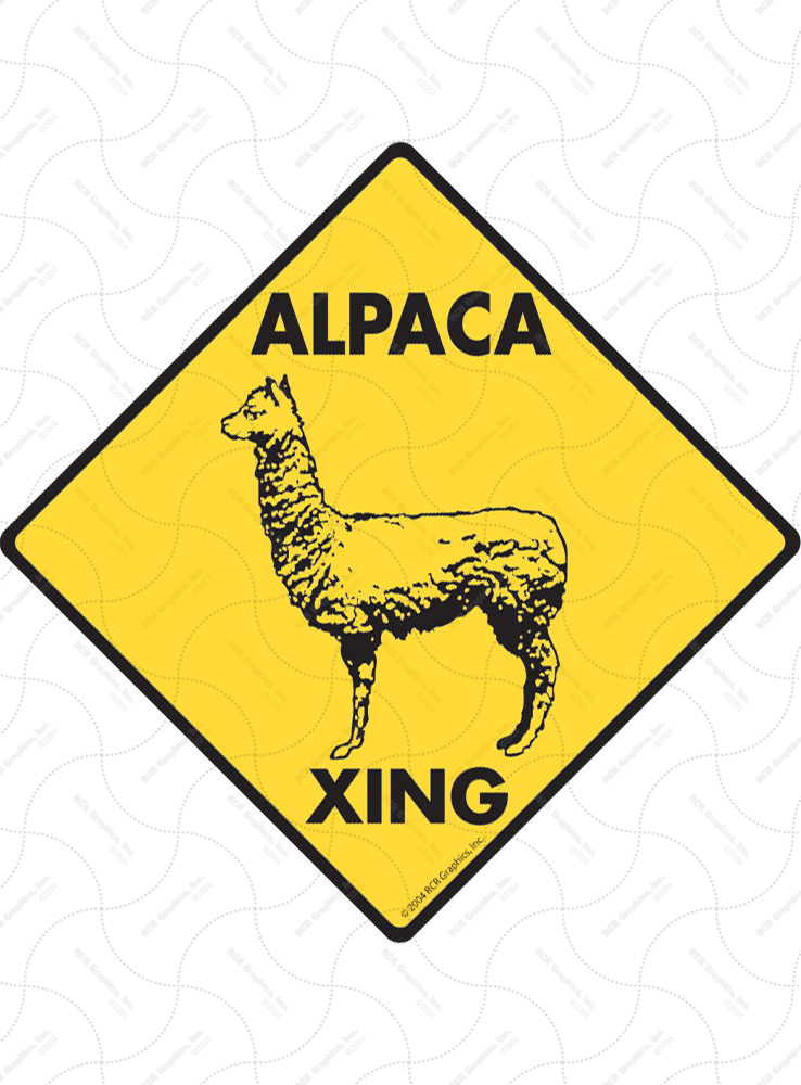 Alpaca Xing (Crossing) Animal Signs and Sticker