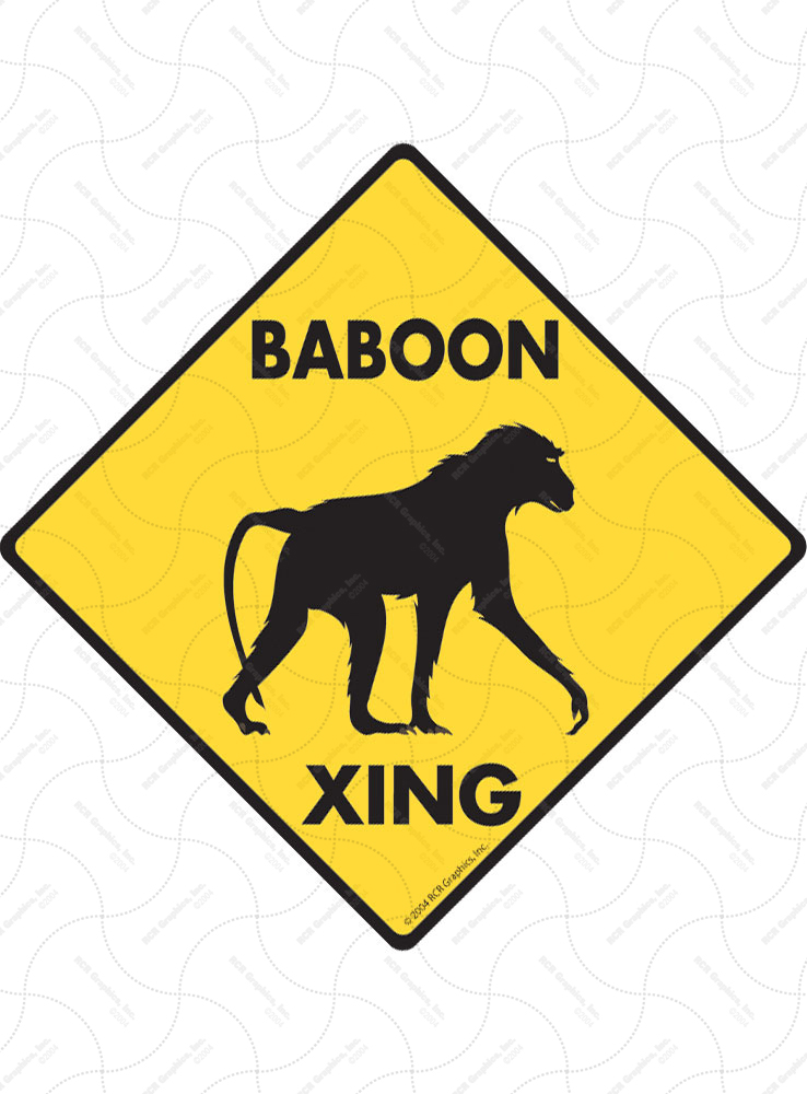 Baboon Xing (Crossing) Animal Signs and Sticker