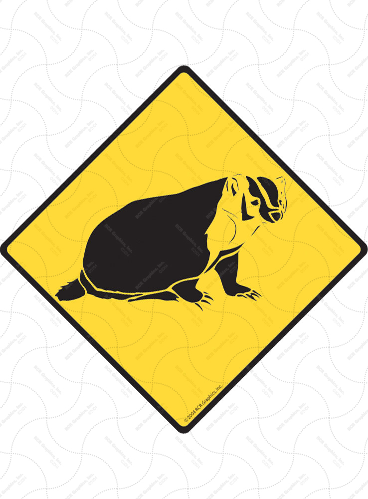 Warning! Badger Animal Signs and Sticker