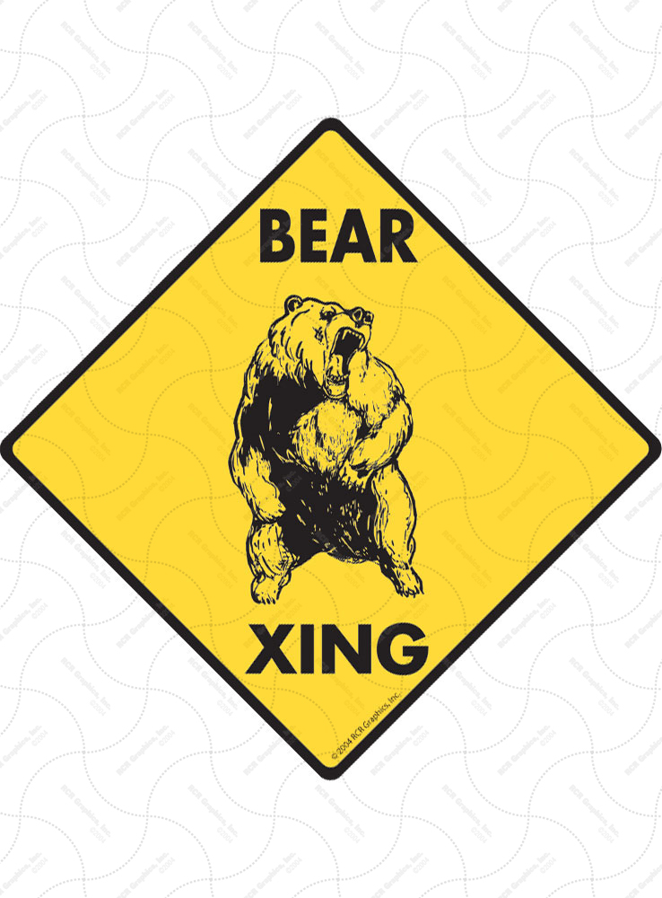 Bear Xing (Crossing) Animal Signs and Sticker
