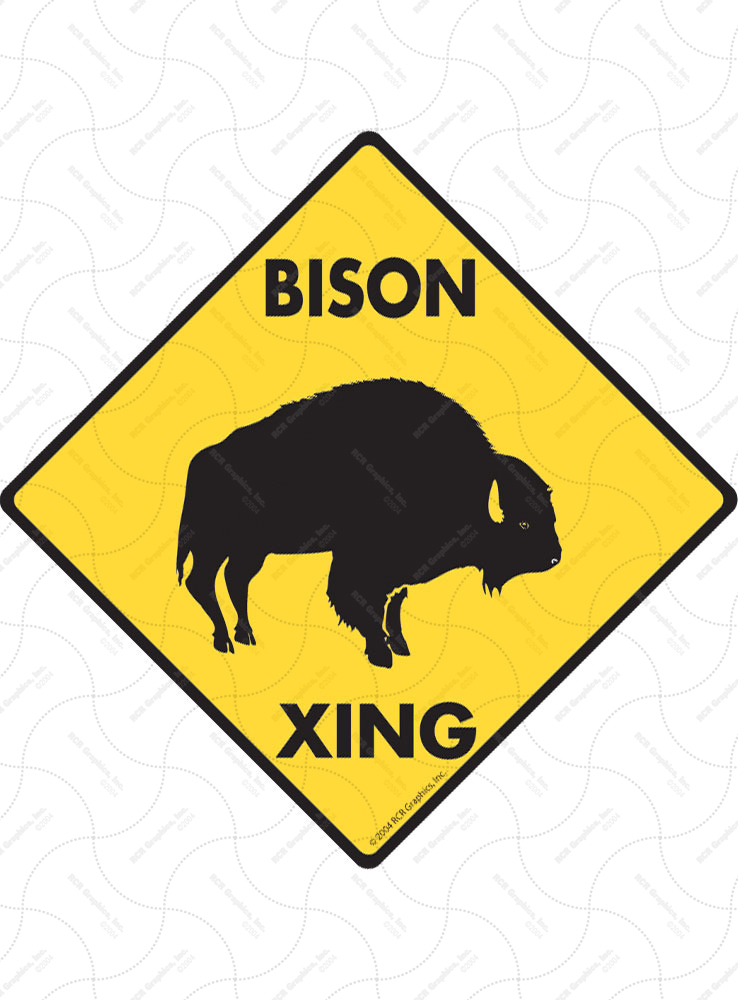 Bison Xing (Crossing) Animal Signs and Sticker