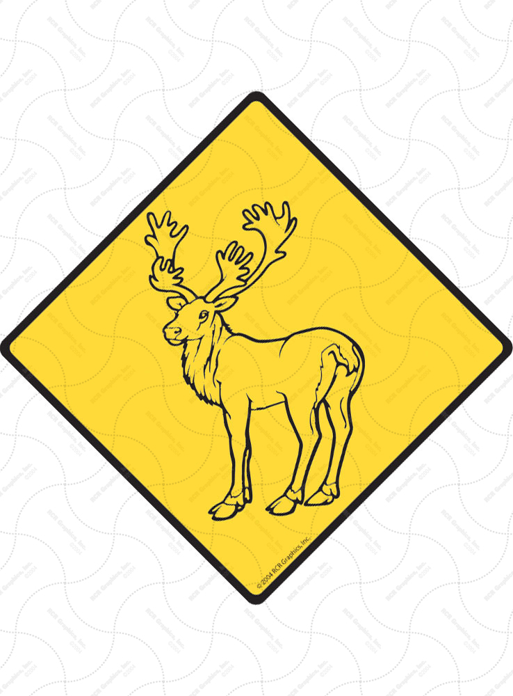 Warning! Caribou Animal Signs and Sticker