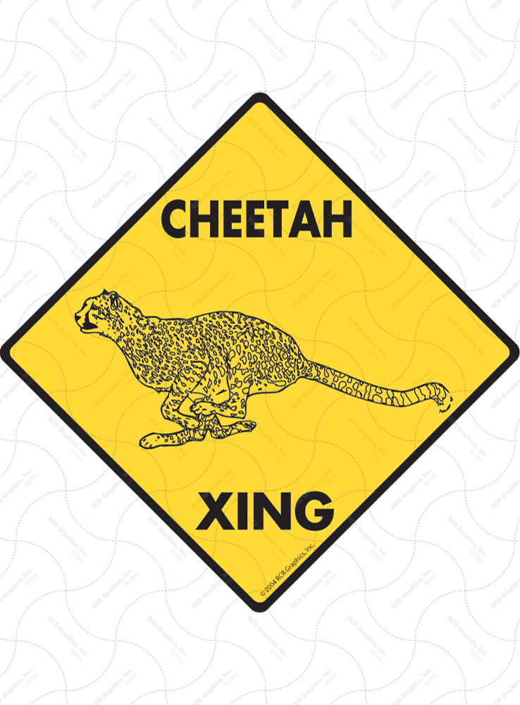 Cheetah Xing (Crossing) Animal Signs and Sticker