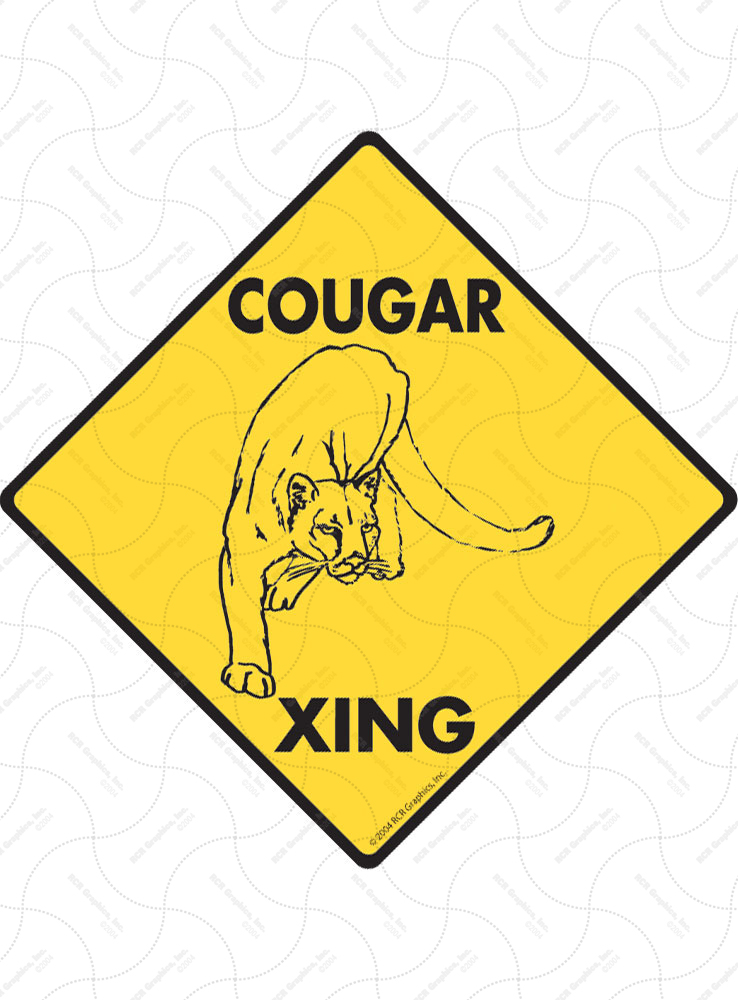 Cougar Xing (Crossing) Animal Signs and Sticker