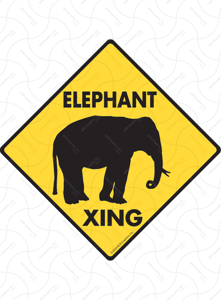 Elephant Xing (Crossing) Animal Signs and Sticker