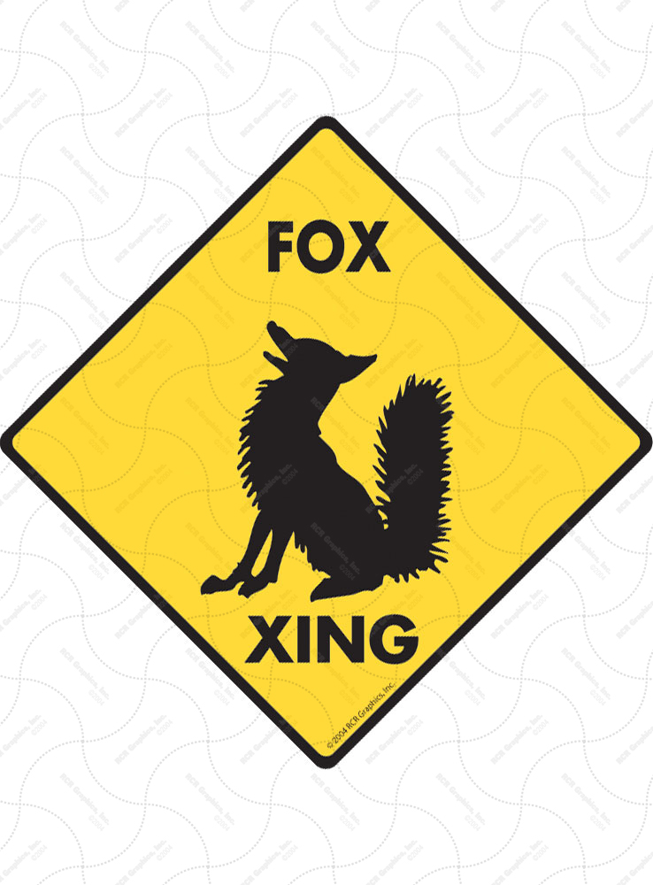 Fox Xing (Crossing) Animal Signs and Sticker