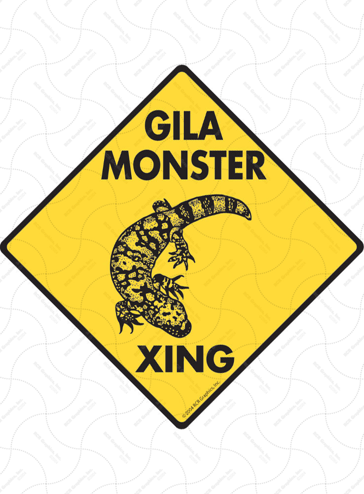 Gila Monster Xing (Crossing) Reptile Signs and Sticker