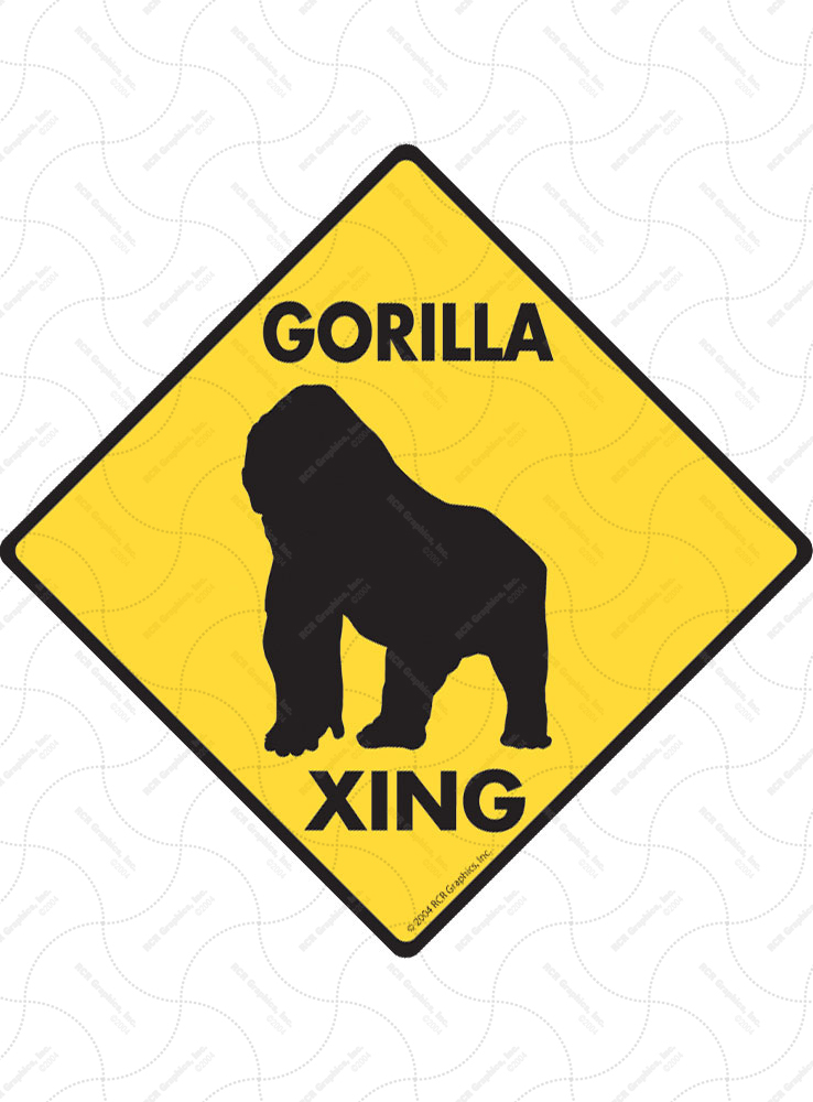 Gorilla Xing (Crossing) Animal Signs and Sticker