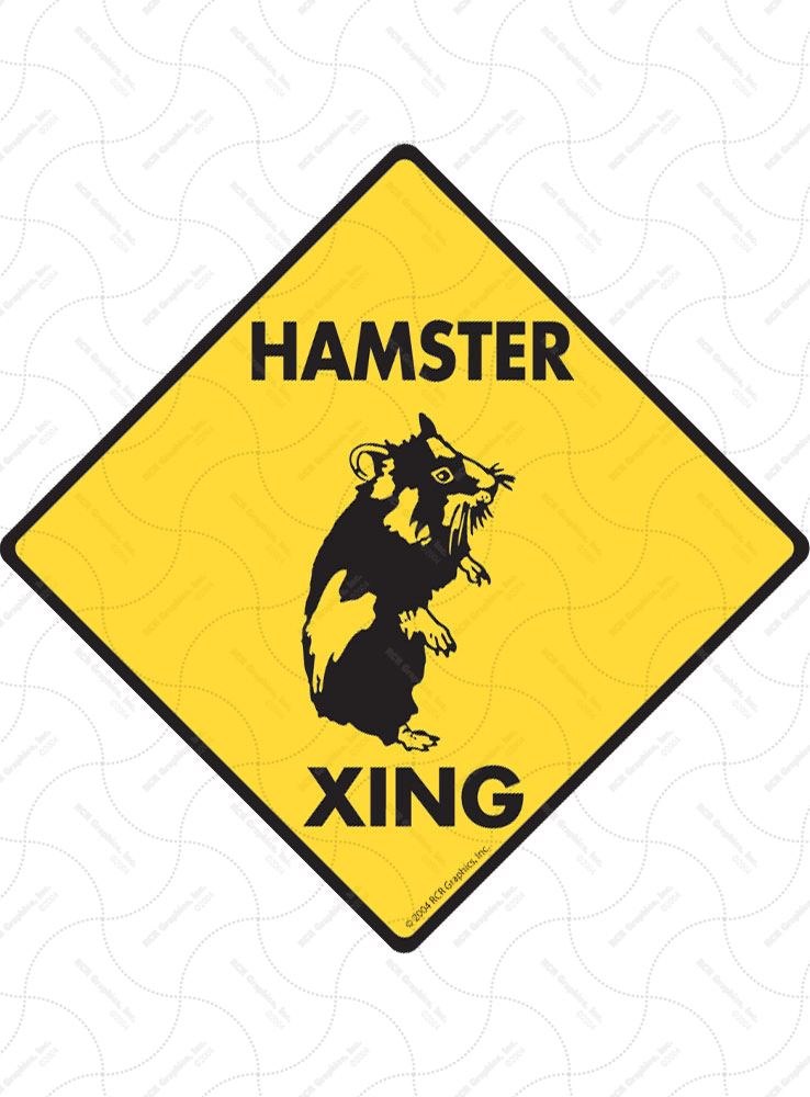 Hamster Xing (Crossing) Animal Signs and Sticker