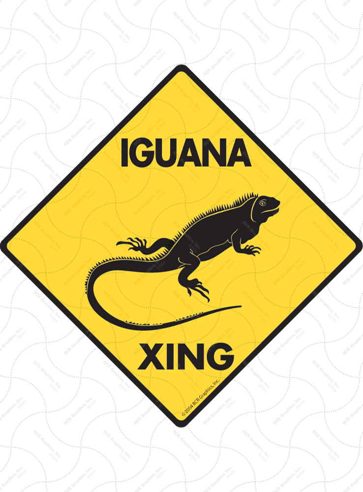 Iguana Xing (Crossing) Reptile Signs and Sticker