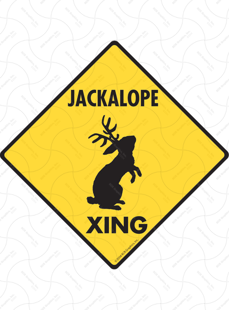 Jackalope Xing (Crossing) Animal Signs and Sticker