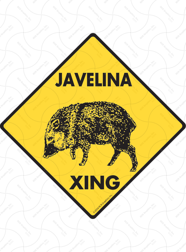 Javelina Xing (Crossing) Animal Signs and Sticker