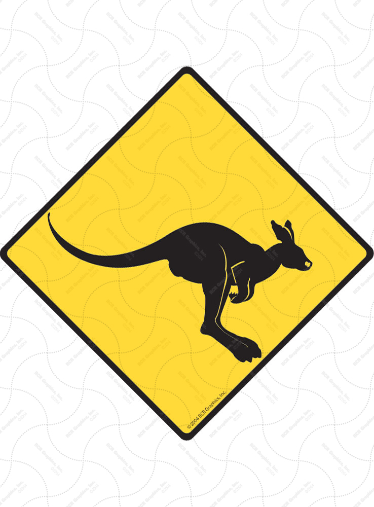 Warning! Kangaroo Animal Signs and Sticker
