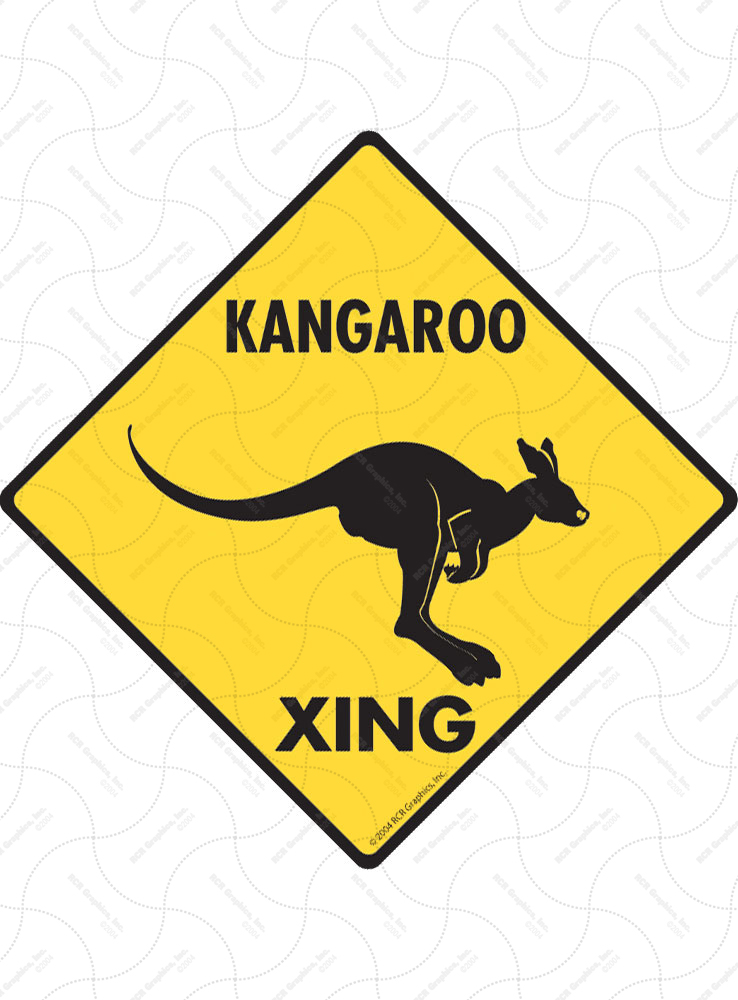 Kangaroo Xing (Crossing) Animal Signs and Sticker