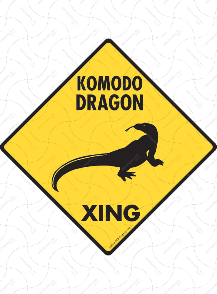 Komodo Dragon Xing (Crossing) Reptile Signs and Sticker
