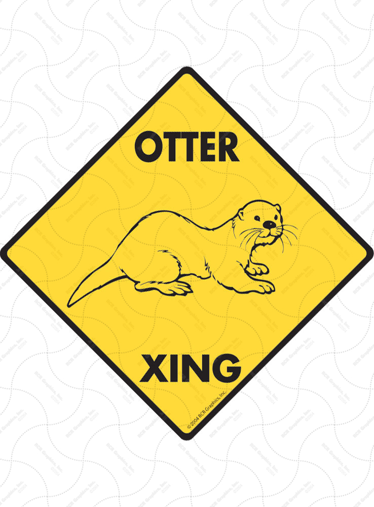 Otter Xing (Crossing) Animal Signs and Sticker