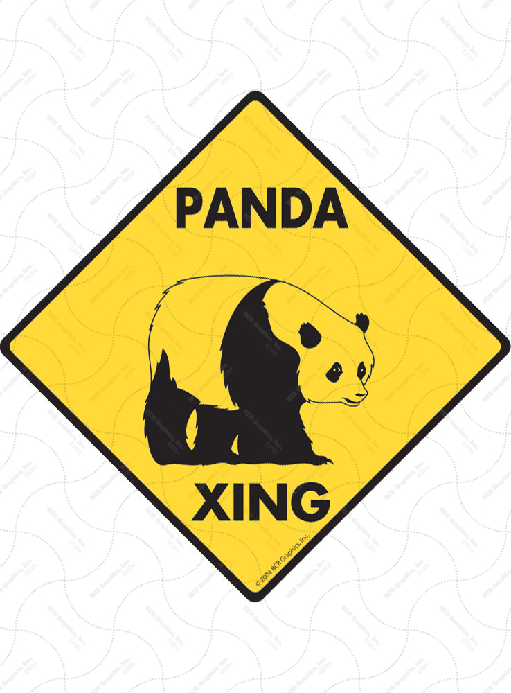 Panda Xing (Crossing) Animal Signs and Sticker