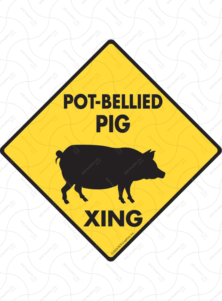Pot-Bellied Pig Xing (Crossing) Animal Signs and Sticker