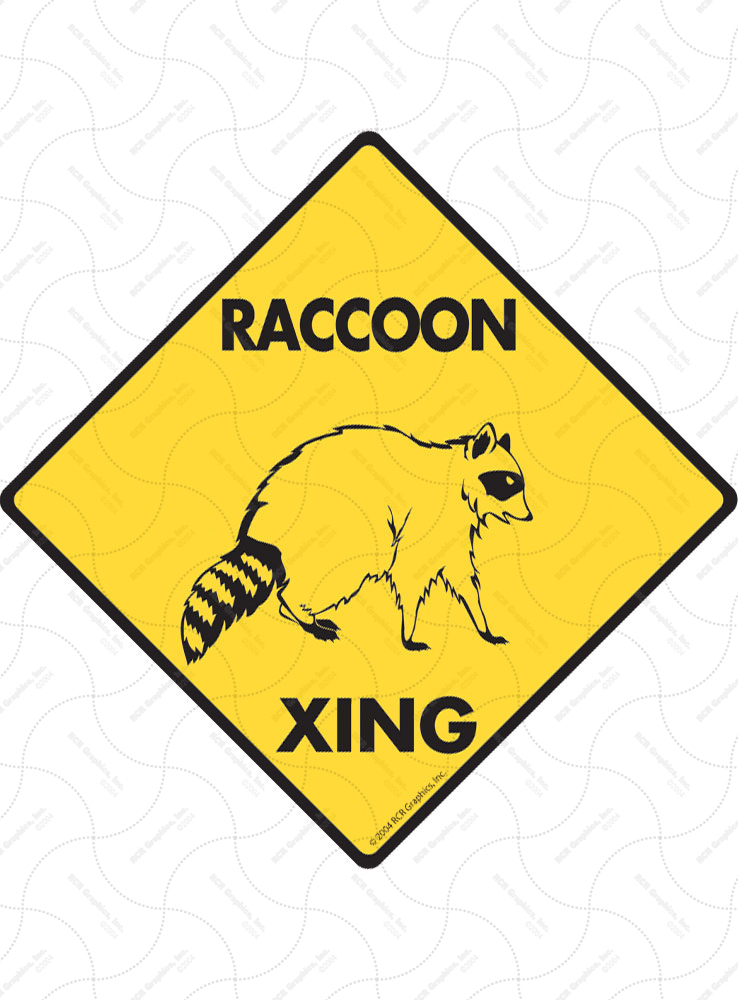 Raccoon Xing (Crossing) Animal Signs and Sticker