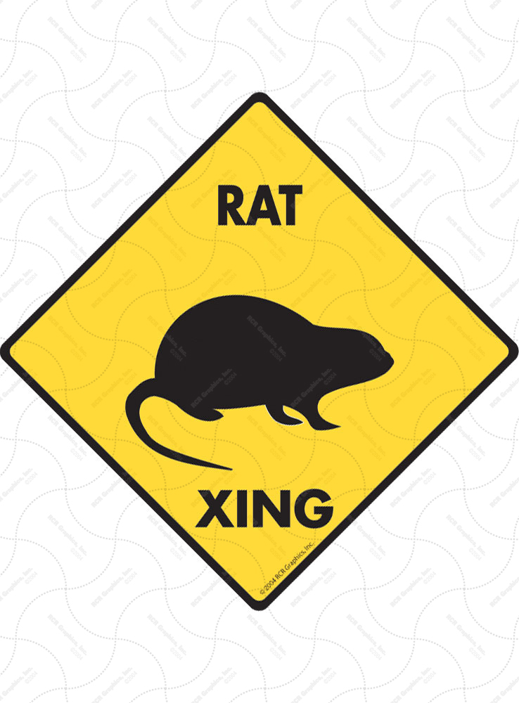 Rat Xing (Crossing) Animal Signs and Sticker
