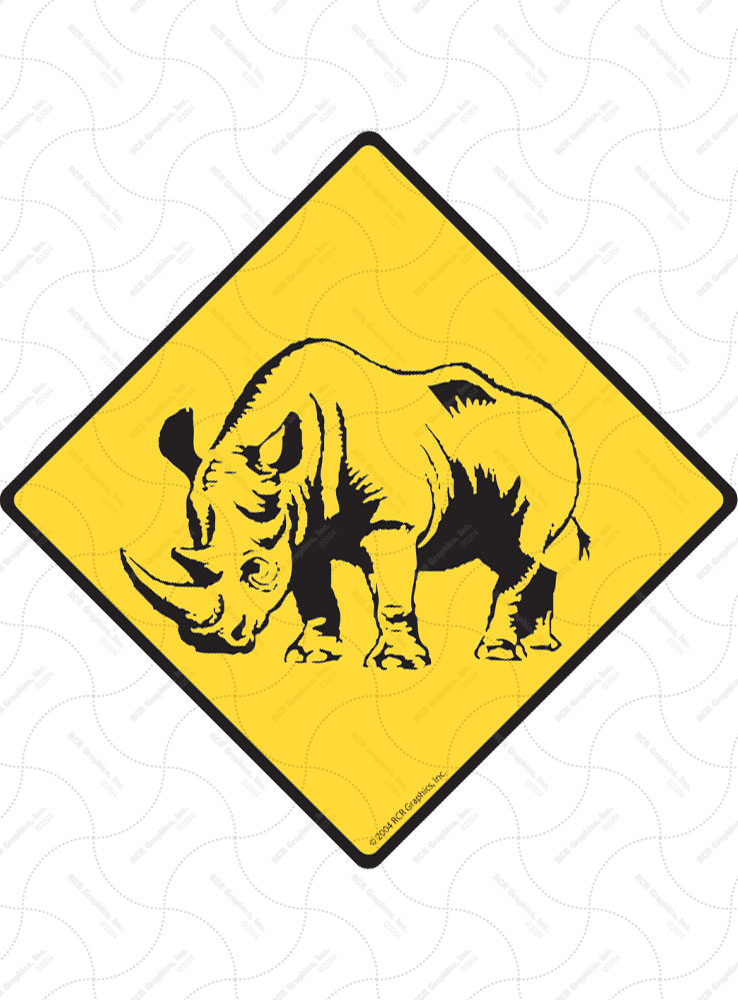Warning! Rhino Animal Signs and Sticker