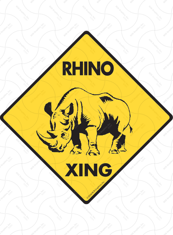 Rhino Xing (Crossing) Animal Signs and Sticker