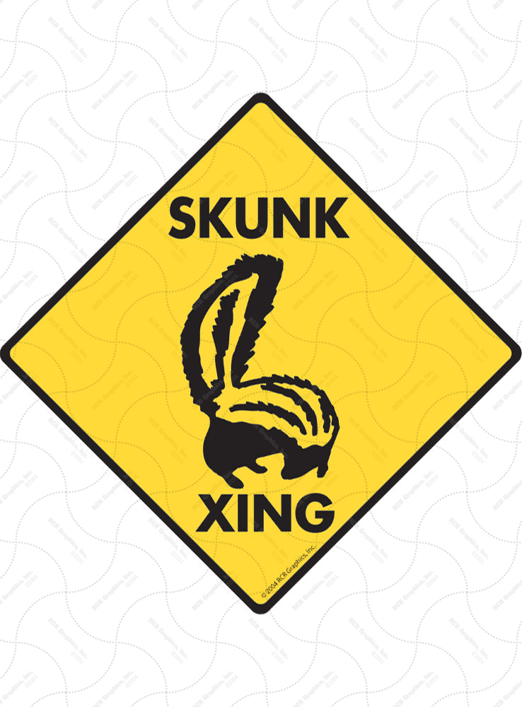 Skunk Xing (Crossing) Animal Signs and Sticker