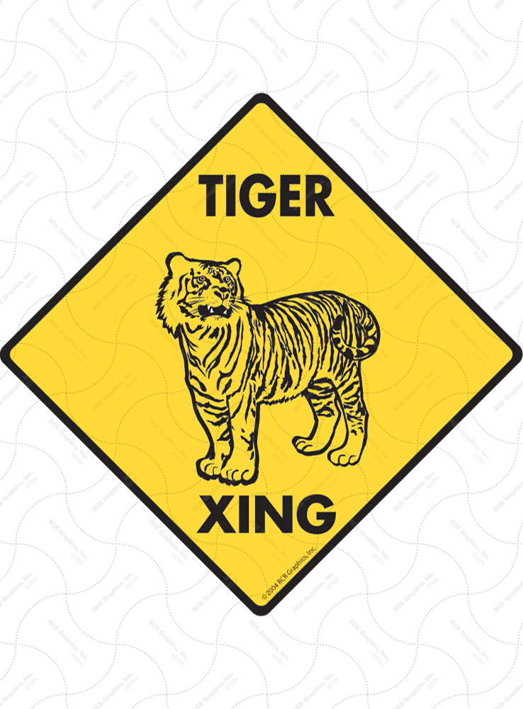 Tiger Xing (Crossing) Animal Signs and Sticker