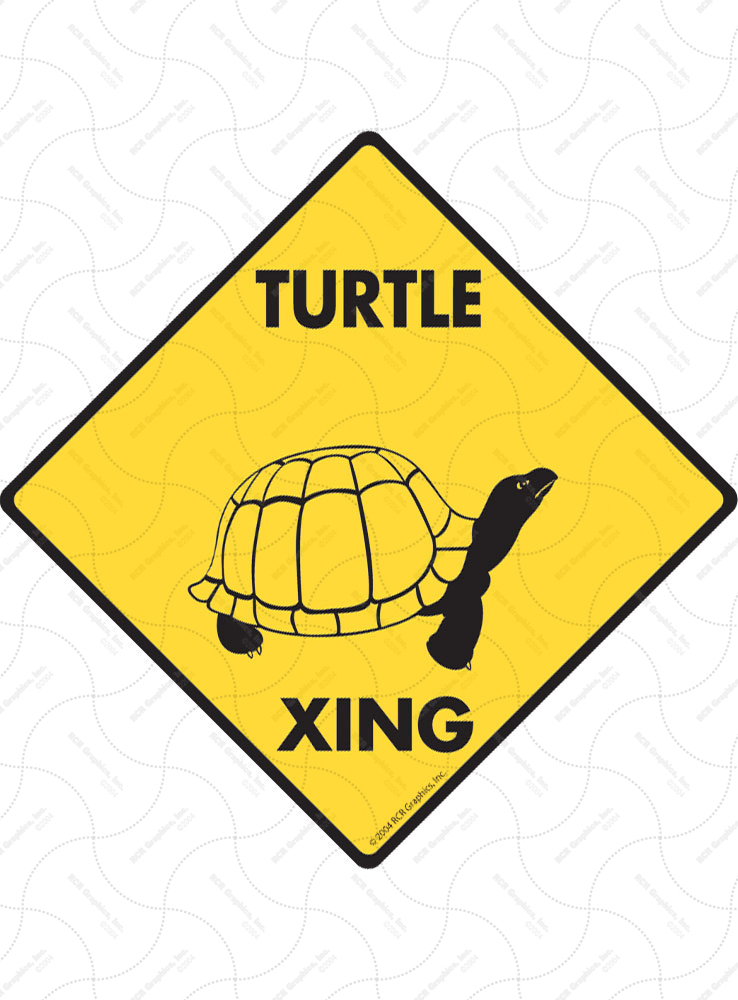 Turtle Xing (Crossing) Reptile Signs and Sticker