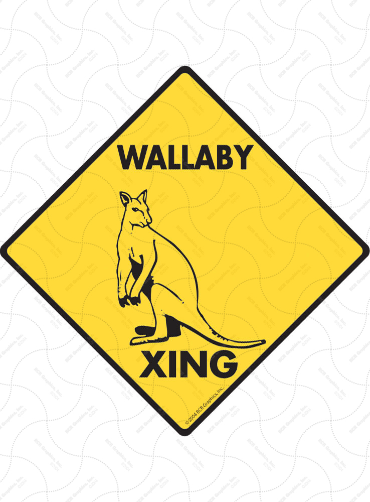 Wallaby Xing (Crossing) Animal Signs and Sticker