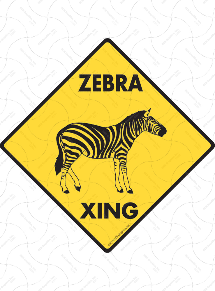 Zebra Xing (Crossing) Animal Signs and Sticker