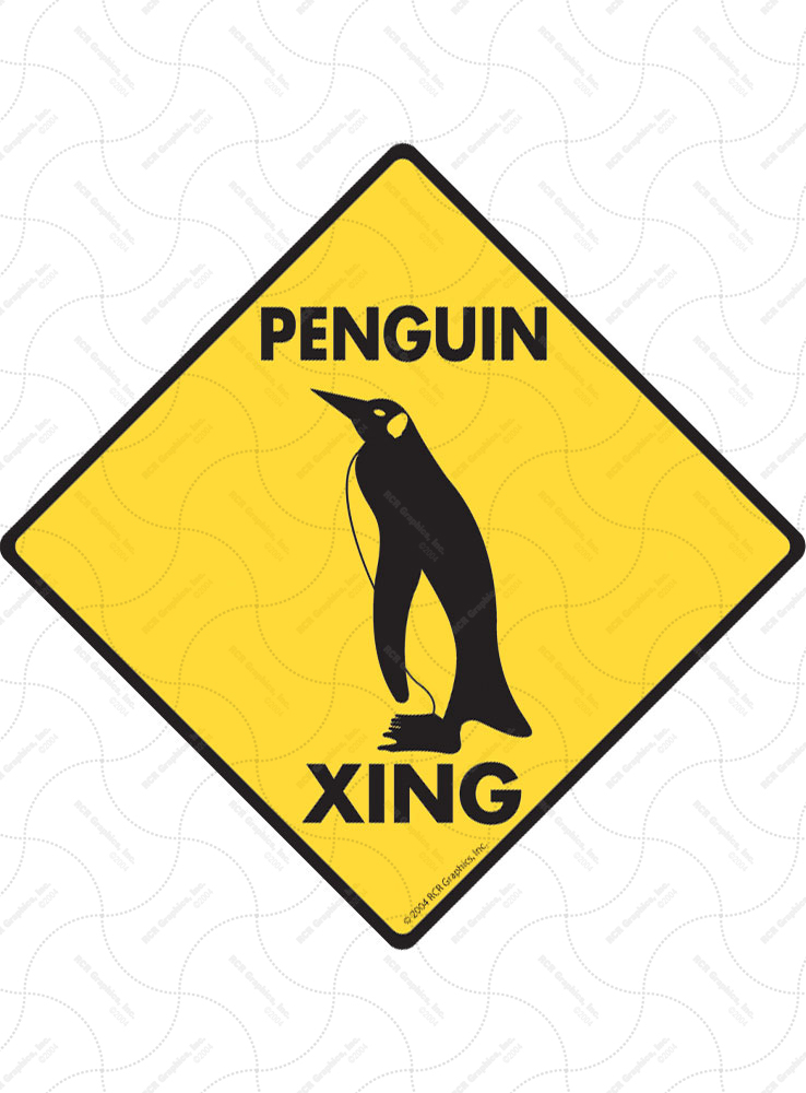 Penguin Xing (Crossing) Bird Signs and Sticker
