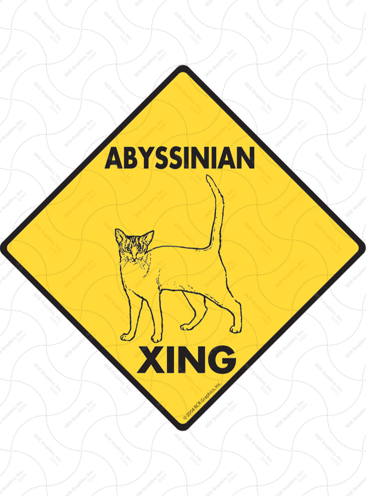 Abyssinian Xing (Crossing) Cat Signs and Sticker