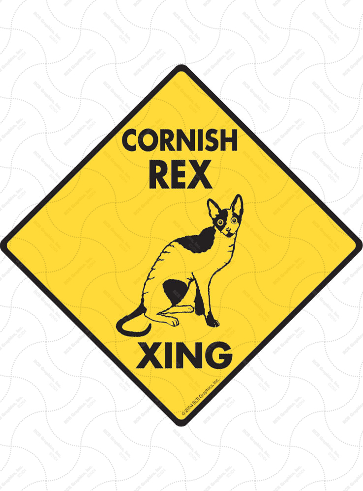 Cornish Rex Xing (Crossing) Cat Signs and Sticker