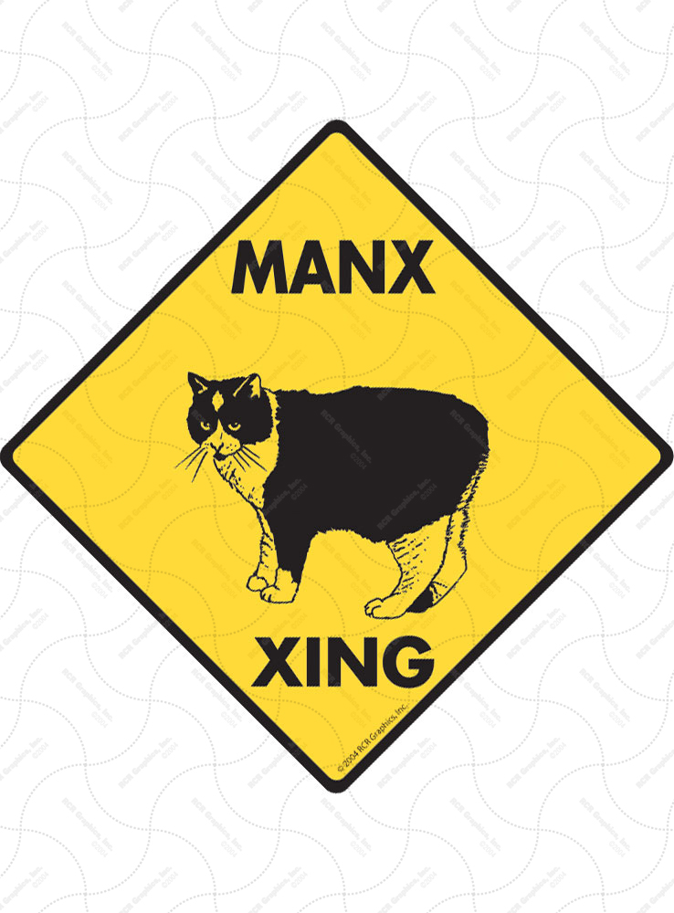 Manx Xing (Crossing) Cat Signs and Sticker