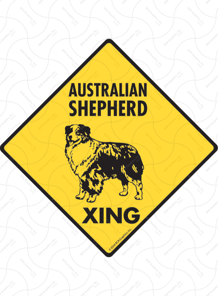 Australian Shepherd Xing (Crossing) Dog Signs and Sticker