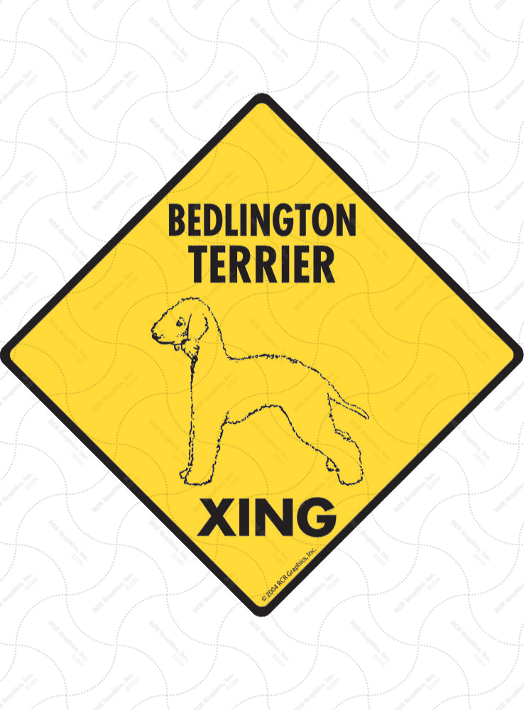 Bedlington Terrier Xing (Crossing) Dog Signs and Sticker