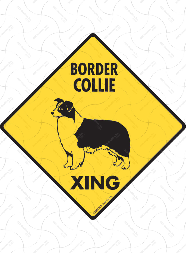 Border Collie Xing Aluminum Dog Signs And Vinyl Stickers