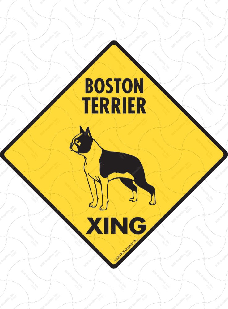 Boston Terrier Xing (Crossing) Dog Signs and Sticker