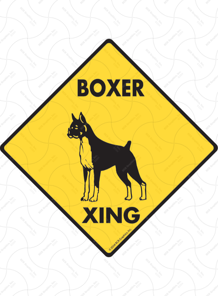 Boxer Xing (Crossing) Dog Signs and Sticker