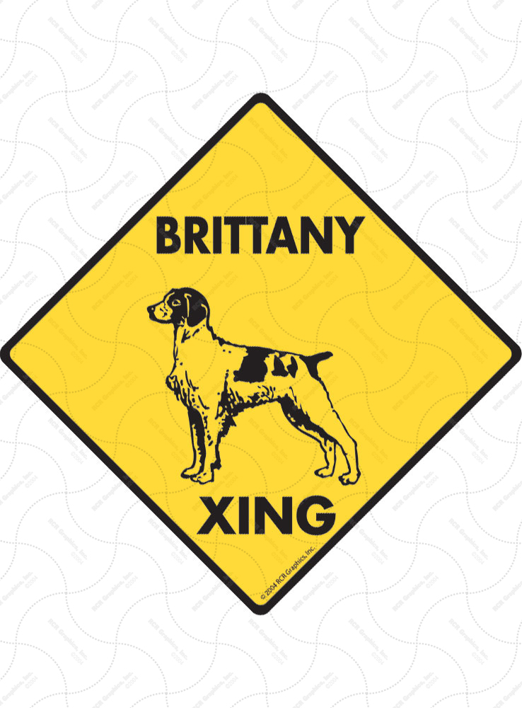 Brittany Xing (Crossing) Dog Signs and Sticker