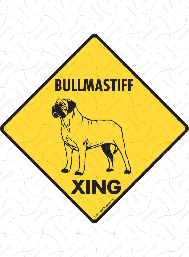 Bullmastiff Xing (Crossing) Dog Signs and Sticker