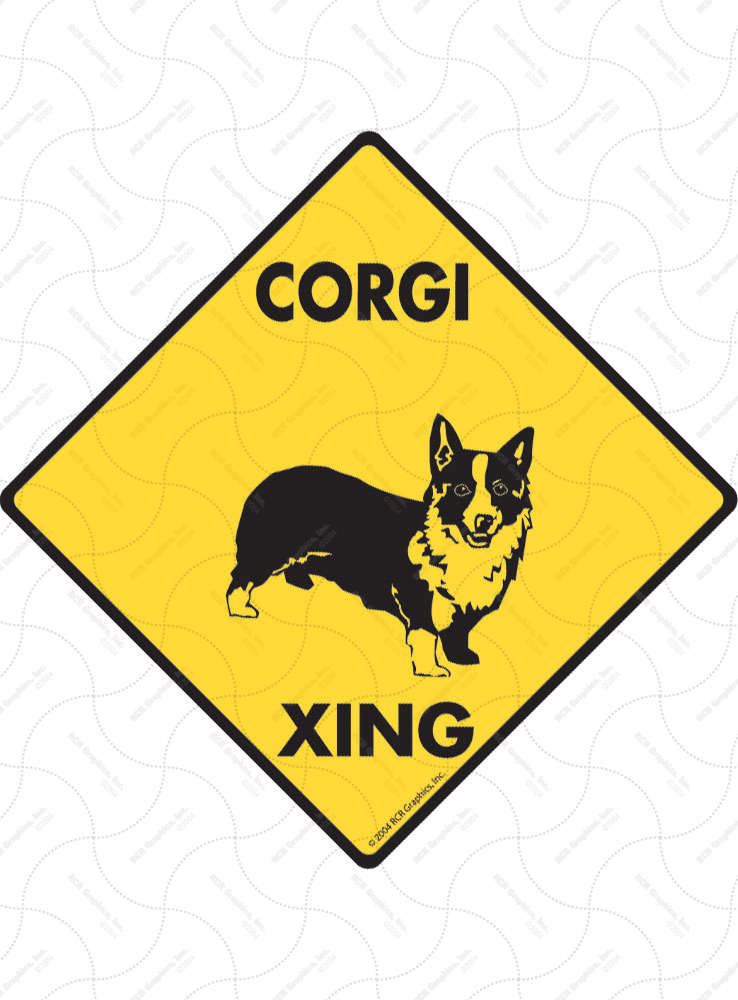 Corgi Xing (Crossing) Dog Signs and Sticker