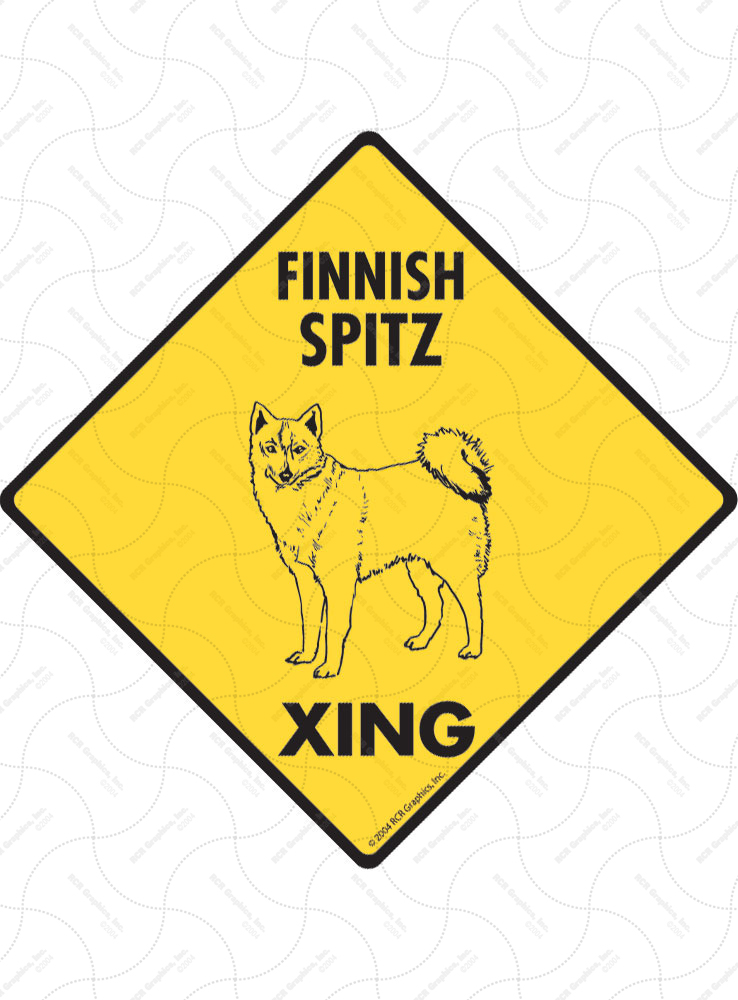 Finnish Spitz Xing (Crossing) Dog Signs and Sticker