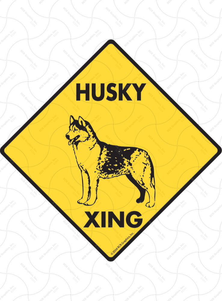 Husky Xing (Crossing) Dog Signs and Sticker