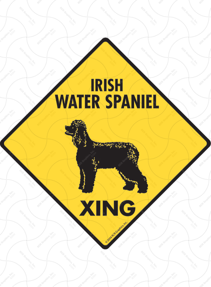 Irish Water Spaniel Xing (Crossing) Dog Signs and Sticker