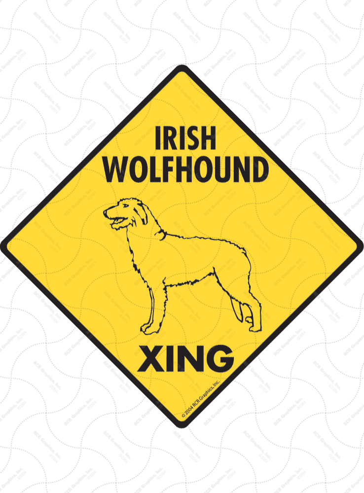 Irish Wolfhound Xing (Crossing) Dog Signs and Sticker