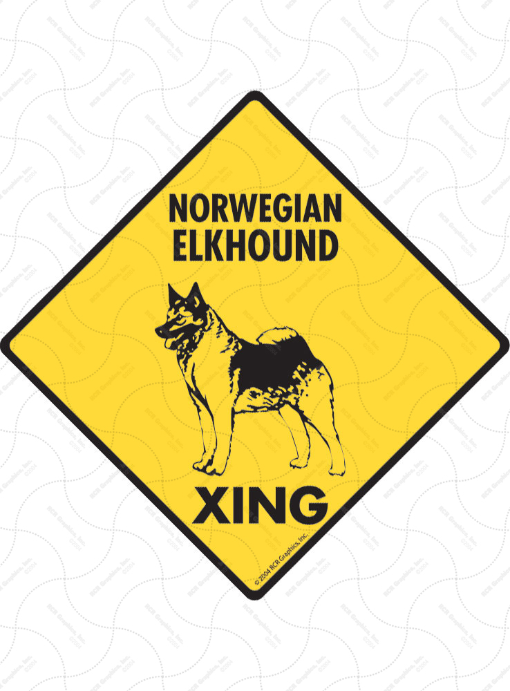 Norwegian Elkhound Xing (Crossing) Dog Signs and Sticker